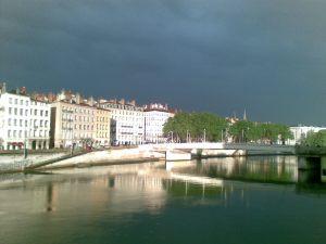 The Saône towards Presqu'Ile right after the rain.